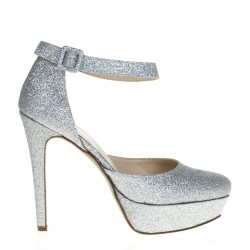 Maryjane silver pumps with high heel