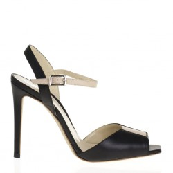 Black and nude leather sandal