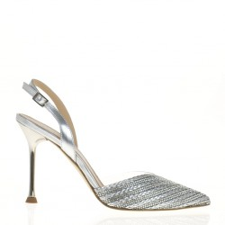 Vinyl and fabric silver slingback