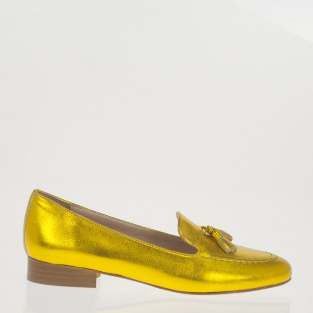Yellow leather tassels loafer