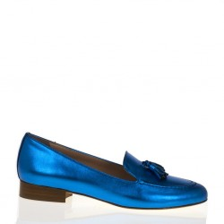 Mocassino pelle bluette