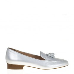 Silver leather tassels loafer