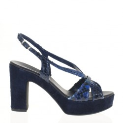 Blue pyton and suede platform sandal