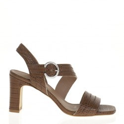 Rosaria brown croco printed leather sandal