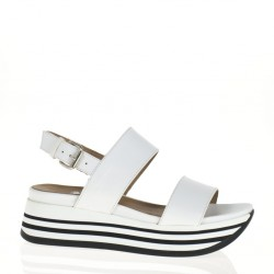 Doble band white leather wedge sandal