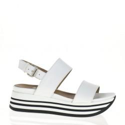 Sandalo con due fasce bianco