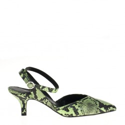 Romea snake printed green leather slingback