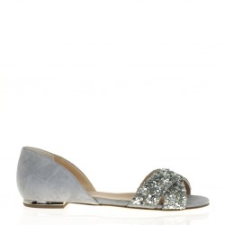 Silver flat open toe shoes