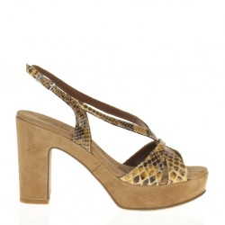 Ocher pyton and suede platform sandal