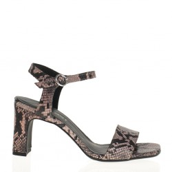 Nude printed leather sandal