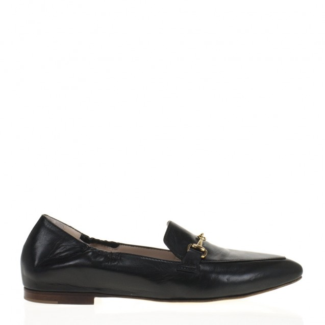 Black napa horsebit loafer