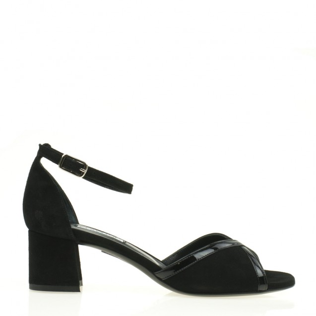 Black leather and patent leather sandal