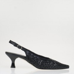Pamela black woven slingback