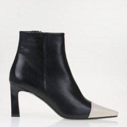 Black and nude ankle boots