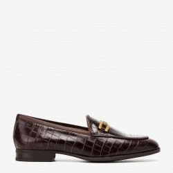 Brown croco leather horsebit loafer