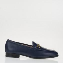Blue napa horsebit loafer