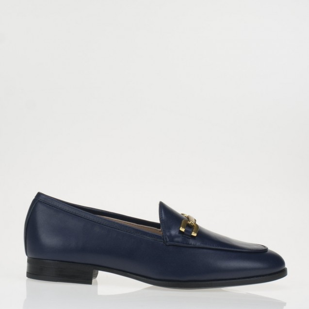 Blue napa horsebit loafer