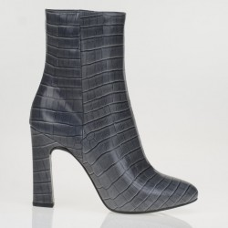 Gray croco printed ankle boots