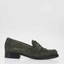Green fringed loafer