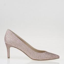 Pink glitter fabric pump
