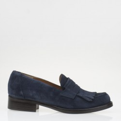 Blue fringed loafer