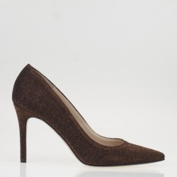 Pointy toe glitter rust pump