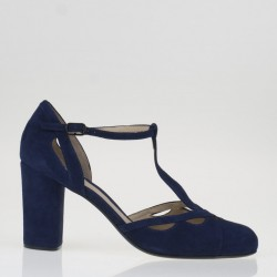 Blu round toe T strap pumps