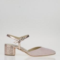 Nude block heel slingback