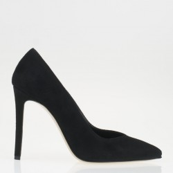 Black suede high heel pump