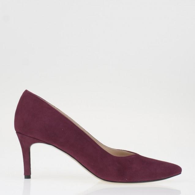 Burgundy suede medium heel pump