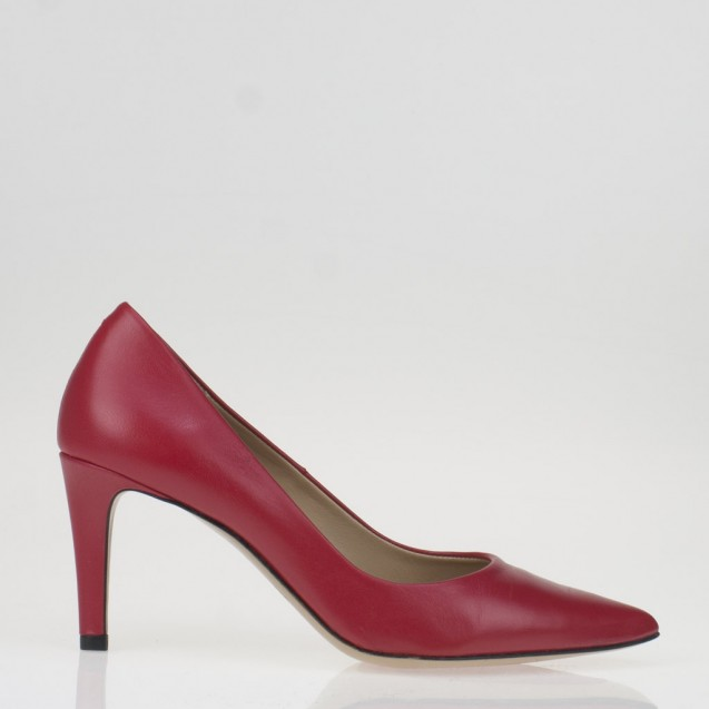 Pointy toe red leather pump