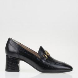 Black croco napa monogram loafer