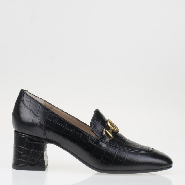 Black croco napa monogram loafer