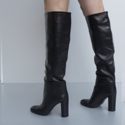 Napa leather tubular black boots