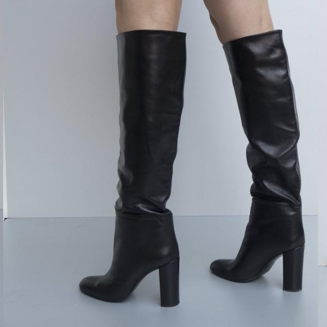 Napa leather tubular black boots