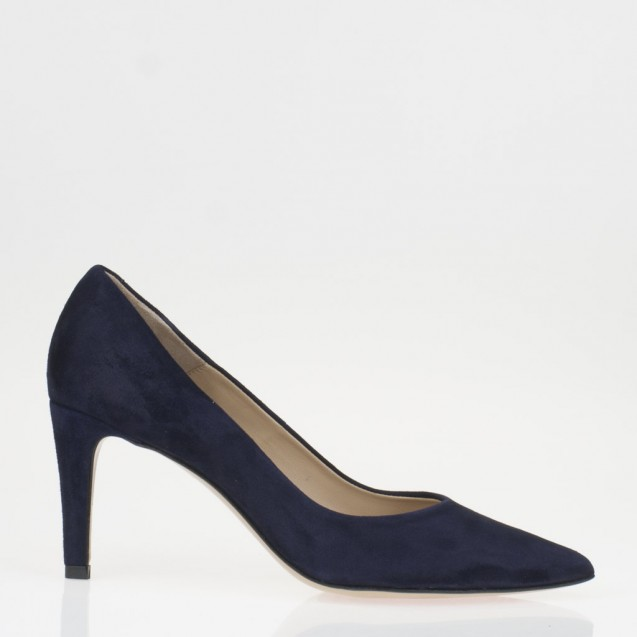 Pointy toe blue suede pump