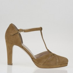Tan suede T strap pump
