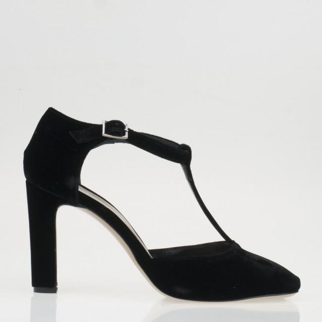 Black velvet T strap pump