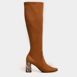 Tan stretch suede boot