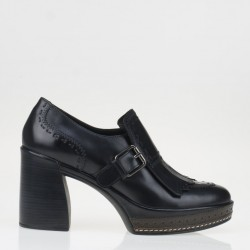 Amelia black platform fringed loafer
