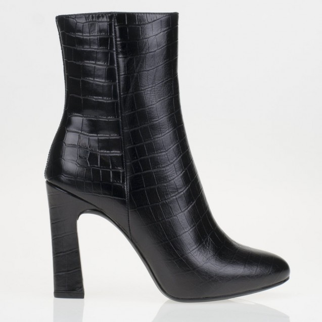 Black croco printed ankle boots