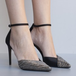 Scarpa in raso nero e tessuto argento