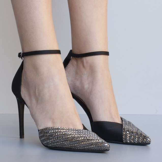 Silver metal and black satin high heel shoes