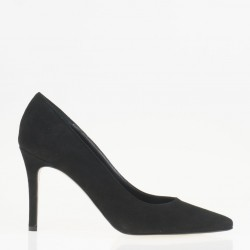 Pointy toe black suede pump