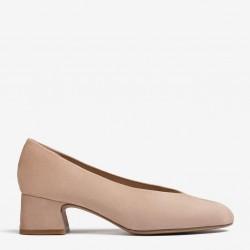 Nude low heel pump