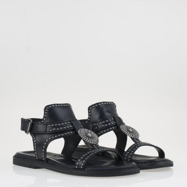 Sandalo nero borchiato