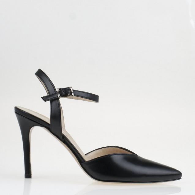 V top line black leather slingback