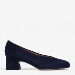 Blue low heel pump
