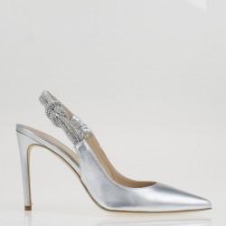 Jewel silver slingback
