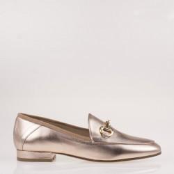 Pink metallic napa horsebit loafer